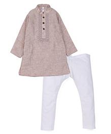 Lil' Posh Full Sleeves Kurta And Pajama - Light Brown White
