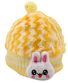 Tiekart Cute Rabbit Print Cap - Yellow