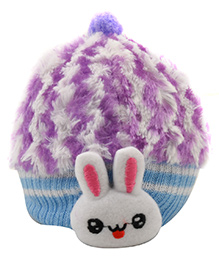 Tiekart Cute Rabbit Print Cap - Purple