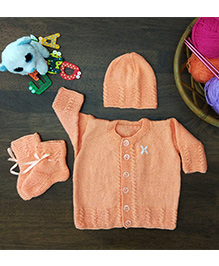 Magic Needles Classic With Embroidery Sweater Cap & Bootie Set - Peach