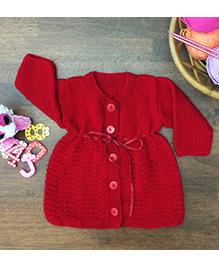 Magic Needles Classic Woolen Dress - Red