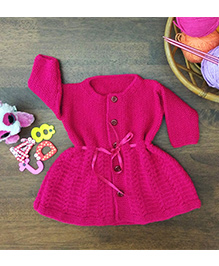 Magic Needles Classic Woolen Dress - Magenta