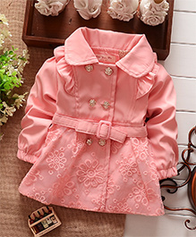 Awabox Floral Embroidered Wind Coat With Rosette Buttons - Pink