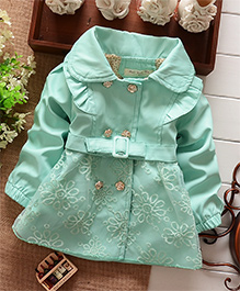 Awabox Floral Embroidered Wind Coat With Rosette Buttons - Green