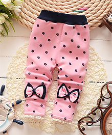 Awabox Floral Warm Pants With Bowknot - Pink