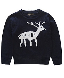 Awabox Sika Deer Print Kid's Sweater - Navy Blue