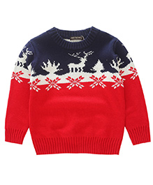 Awabox Reindeer Print Winter Kid's Sweater - Red