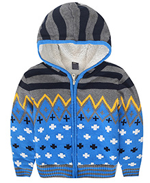 Awabox Mexican Print Inspired Kid's Sweater - Blue