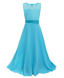Pre Order - Awabox Elegant Lace Kids Party Dress - Sky Blue