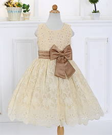 Awabox Bow Knot Embroidered Cut Work Lace Party Dress - Cream