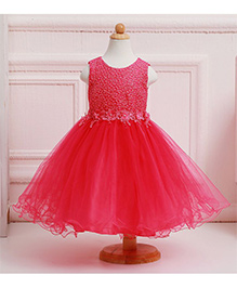 Pre Order - Awabox Embroidered Yoke With Lace Flower Shimmering Dress - Rose Red