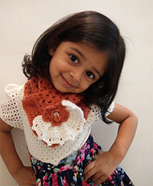 Tiny Closet Crochet Woolen Neck Scarf - Coral & White
