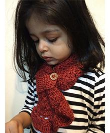 Tiny Closet Crochet Woolen Neck Scarf - Maroon