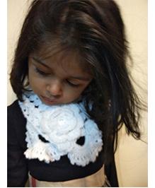 Tiny Closet Crochet Woolen Neck Scarf With Flower - White