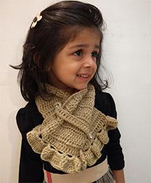 Tiny Closet Crochet Woolen Neck Scarf - Beige