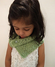 Tiny Closet Crochet Woolen Neck Scarf - Green