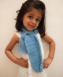 Tiny Closet Crochet Woolen Stylish Neck Scarf - Blue