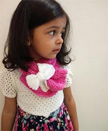 Tiny Closet Crochet Woolen Bow Applique Neck Scarf - Hot Pink