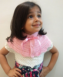 Tiny Closet Crochet Woolen Neck Scarf With Buttons - Baby Pink