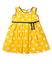 Doodle Sleeveless Frock Polka Dots Print - Yellow