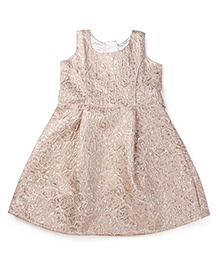 Doodle Sleeveless Party Frock - Golden