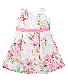 Doodle Sleeveless Frock Floral Print - White Pink