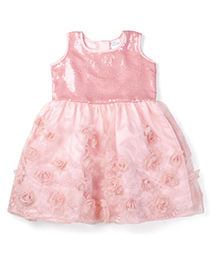 Doodle Sleeveless Party Wear Frock Floral Applique - Pink