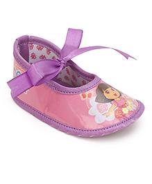 Dora Ribbon Detail Infant Booties - Pink & Purple