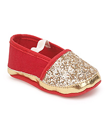 Barbie Slip-On Booties Shimmery Detail - Golden & Red
