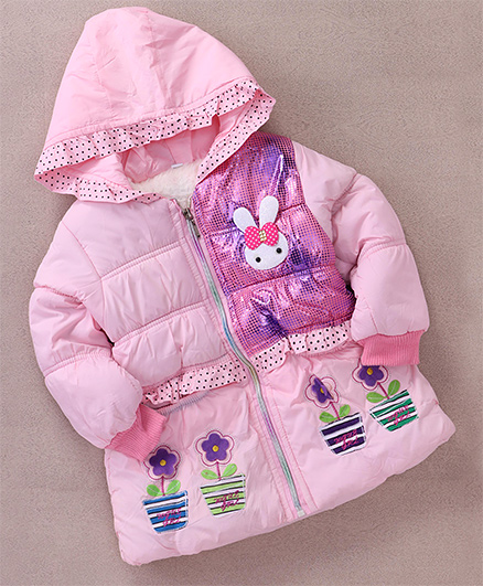 Superfie Bunny & Floral Patch Winter Hooded Jacket - Light Pink