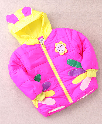 Superfie Sunflower Winter Hooded Jacket - Hot Pink