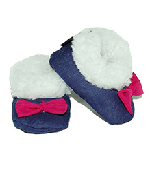 Snugons Cotton Booties With A  Bow Applique - Navy Blue
