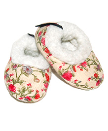 Snugons Cotton Booties With Flower Print Design - Beige