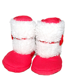 Snugons Cotton Hall Shoes With A Red Bow Applique - Pink