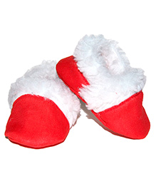 Snugons Cotton Booties With Fur Inner Lining  - Red