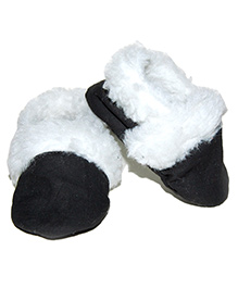 Snugons Cotton Booties With Fur Inner Lining  - Black