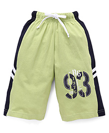 Taeko Three Fourth Bermuda Pants With 93 Print - Green & Navy