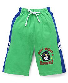 Taeko Three Fourth Bermuda Pants With Monkey Print - Green & Royal Blue