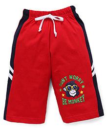 Taeko Three Fourth Bermuda Pants With Monkey Print - Red & Navy