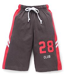 Taeko Three Fourth Bermuda Pants With 28 Club Print - Dark Brown & Coral