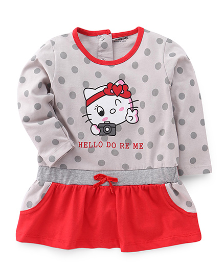 Doreme Full Sleeves Dotted Frock Kitty Print - Grey Red