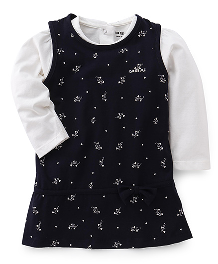 Doreme Sleeveless Frock With Inner Top Bow Applique - Off White Navy