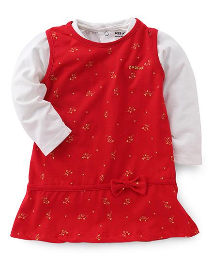 Doreme Sleeveless Frock With Inner Top Bow Applique - Off White Red