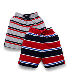 Doreme Casual Shorts Stripes Print Pack Of 2 - Grey Red