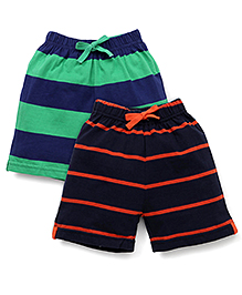 Doreme Casual Shorts Stripes Print Pack Of 2 - Green Navy