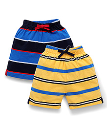 Doreme Casual Shorts Stripes Print Pack Of 2 - Blue Yellow