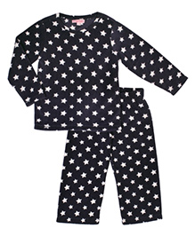 CrayonFlakes Star Print Polar Fleece Top & Bottom Set - Grey