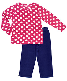CrayonFlakes Polka Dot Print Fleece Top & Bottom Set - Magenta & Navy Blue