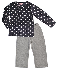 CrayonFlakes Star Print Fleece Top & Bottom Set - Grey