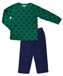 CrayonFlakes Reindeer Print Fleece Top & Bottom Set - Green & Navy Blue